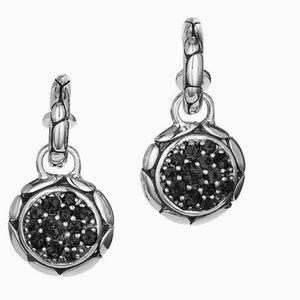 John Hardy Silver Gemstone Drop Hoop Earrings